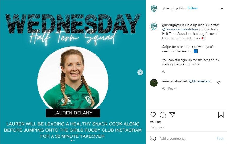 Girls Rugby Club instagram post