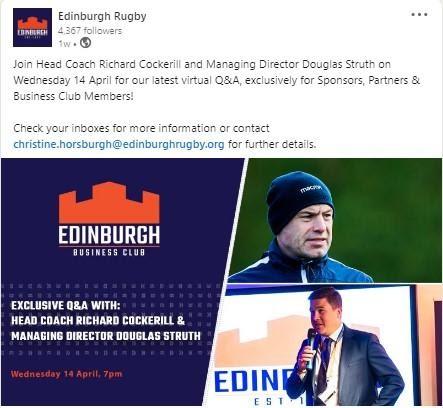 Edinburgh Rugby post